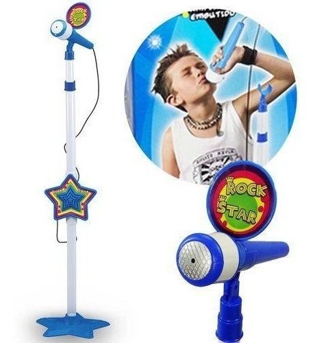 Microfone Infantil Rock Star Musical Mp3 Luz Amplificador