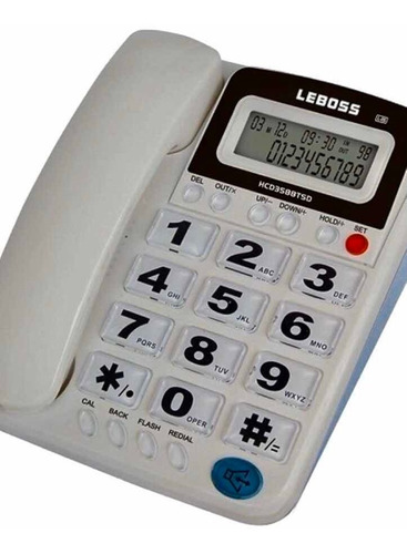 Teléfono Leboss Línea Fija Altavoz Id Llamadas Calculadora