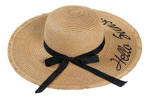 Mulheres Chapéu De Palha Bowknot Aba Larga Bordado Dobrável