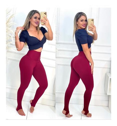 Calça Legging Feminina Cós Modeladora C/ Pé Fitness