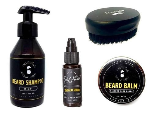 Kit Cuidado Barba Shampoo Aceite Balsamo Cepillo Old Soul