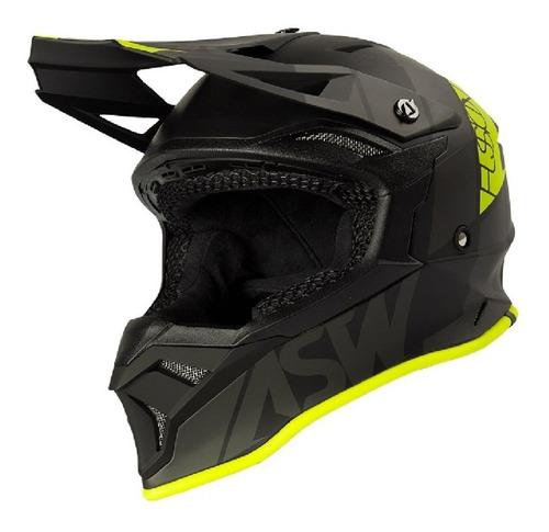 Capacete Asw Fusion 2.0 Seecker Preto/fluor Motocross Trilha