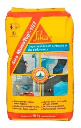 Impermeabilizante Cementíceo Sika Monotop 107 Bolsa X 25 Kg