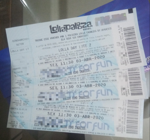 Ingressos Lollapalooza 2020 - 3 Ingressos Dia 1 - 04/12/20