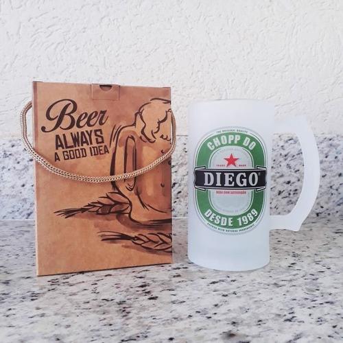 Caneca Chopp Vidro Jateado Rótulo De Cerveja Personalizada