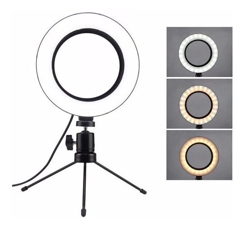 Iluminador De Led Com Tripe Ring Light Usb 16cm 3500k 6000k