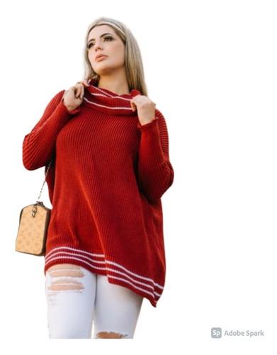 Blusa Poncho Kimono Tricot Tricô Inverno Lindo Com Listra
