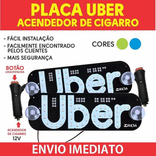 Placa Letreiro Vidro Parabrisa Uber Led Luminoso 12v