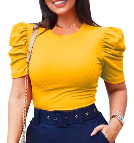 Blusa Blusinha Feminina Manga Curta Bufante Princesa Canelad