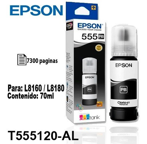 Tinta Epson T555 555 Negro Fotográfica Original P/l8160/8180