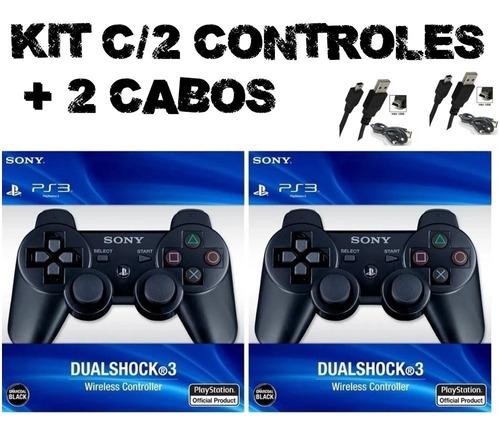 2 Controles Joystick Sem Fio Sony Dualshock 3 + Cabo + Nf