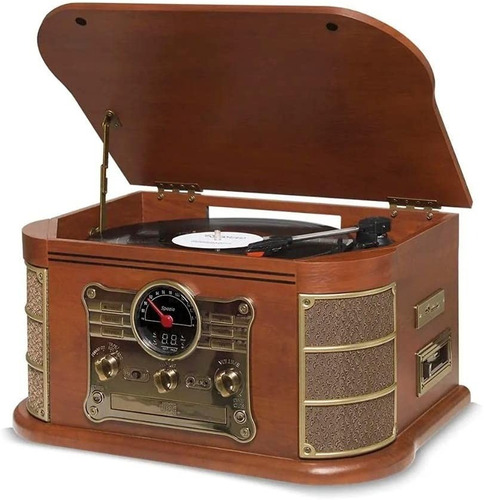 Vitrola Spazio Vinil Cd K7 Bluetooth Vintage - Promoção