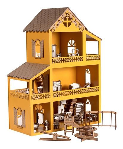 Casa Casinha De Boneca Amarela Polly Mdf +36móveis+parquinho