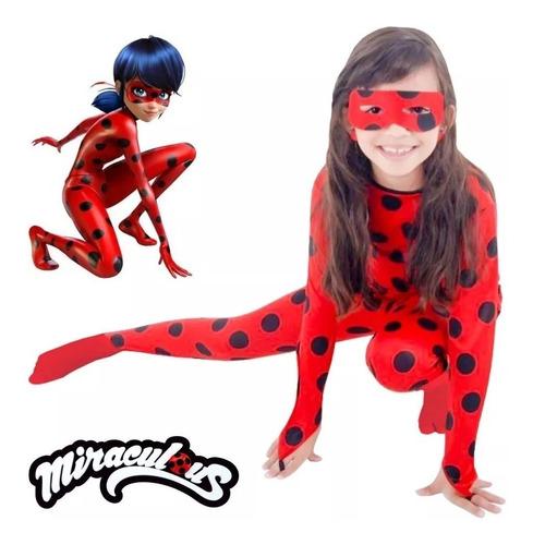 Fantasia Ladybug Miraculous Barato Roupa Infantil + Máscara