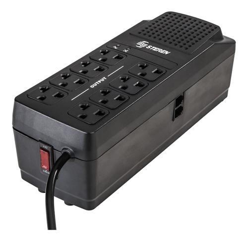 Regulador De Voltaje Steren Reg-2050 2000va Entrada Y Salida De 120v Ca Negro