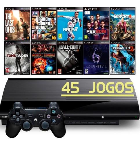 Playstation 3 Super Slim Ps3 + 45 Jogos + Fifa 19 + Gta5