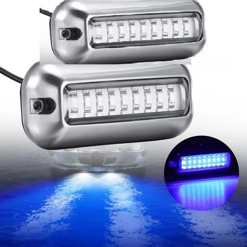Par De Luz Lâmpada Subaquática Azul 27 Leds Lancha Barco