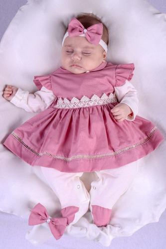Saída De Maternidade Menina Rose Alice 04 Peças Vermelho