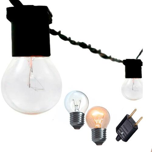 Varal De Luzes Cordão Decoração Com Lamp Clara 127v 30m Pt