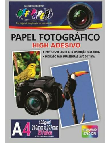 Papel Fotográfico A4 135g Adesivo 20 Folhas  Off Paper