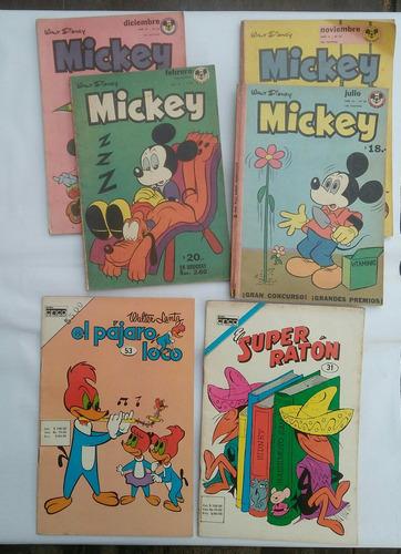 Revistas Antiguas Lote X6 Mickey , Pájaro Loco, Super Ratón