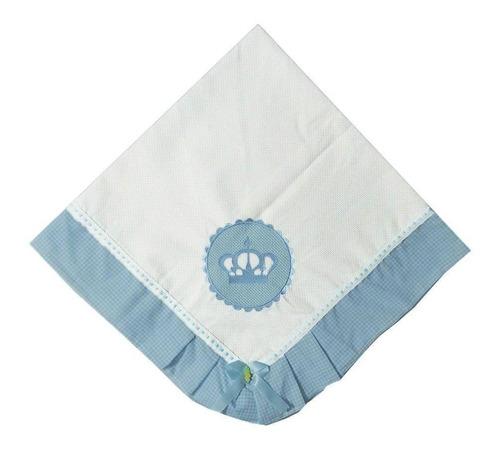 Manta De Bebê Piquet Branco C\ Detalhe E Bordado