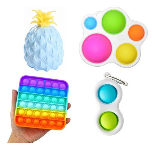 Kit Brinquedos Sensoriais Simples Dimple Pop It 4pcs