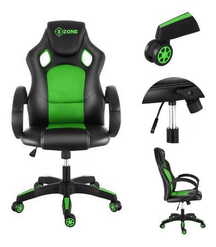 Cadeira Gamer Xzone Em Couro Preto E Verde Cgr-02