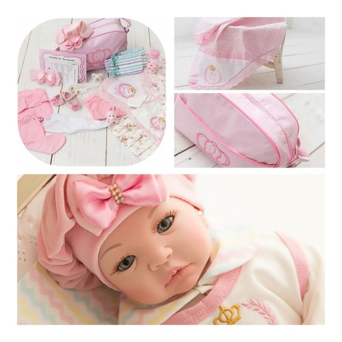 Bebê Reborn Princesa Pérolas Barata Promoção Manta Bolsa