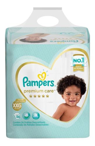 Fraldas Pampers Premium Care Tamanho Xxg +14kg 56 Unidades