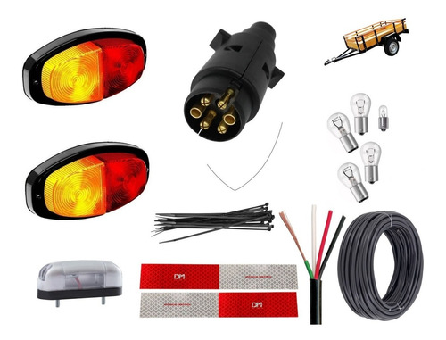 Lanterna Canoinha Kit Eletrico Para Carretinha Reboque