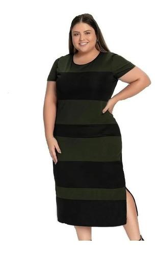 Vestido Midi Verde E Preto Recortes Plus Size
