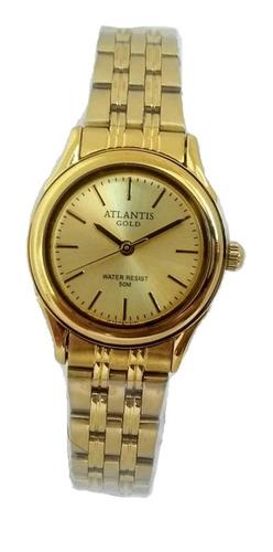 Relógio Feminino Pequeno Dourado Atlantis Original Pv Dágua