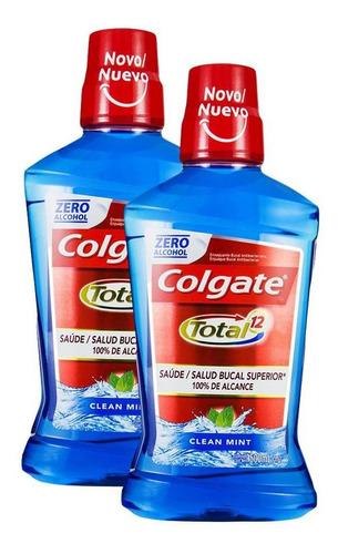 Kit 2 Enxaguante Bucal Colgate Total 12 Clean Mint 500ml