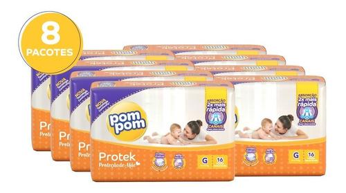Kit Fralda Pom Pom Protek Proteção De Mãe Jumbinho G 128 Un