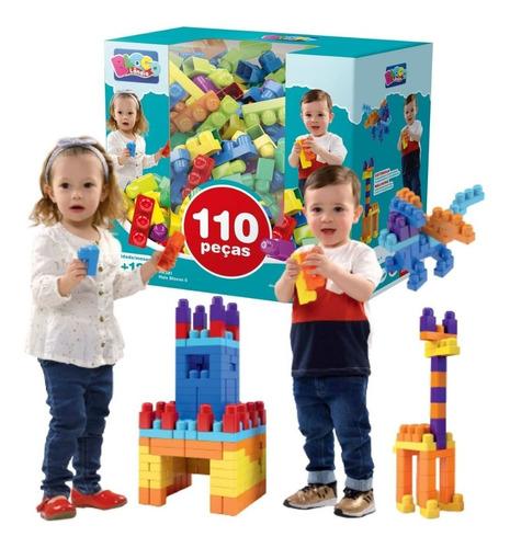 Brinquedo Mais Blocos Coloridos Montar Encaixa Grande 110pçs