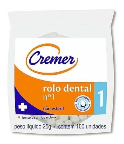 Algodão Rolete Dental N1 C/100un Cremer Pronta Entrega