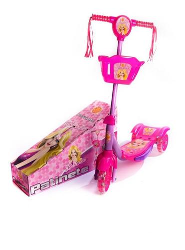 Patinete Infantil 3 Rodas Para Criança Com Som E Luz Rosa