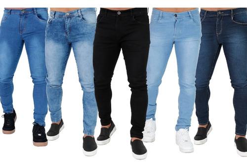 Kit Atacado 5 Calça Jeans Masculina Skinny Com Elastano