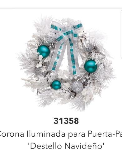 Corona Blanca Con Azul Turquesa Navideña Para Puerta Home