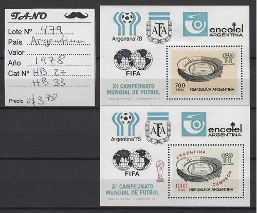Lote479 Argentina Bloques Mundial Año1978 Gj Hb#27 Y 33 Mint