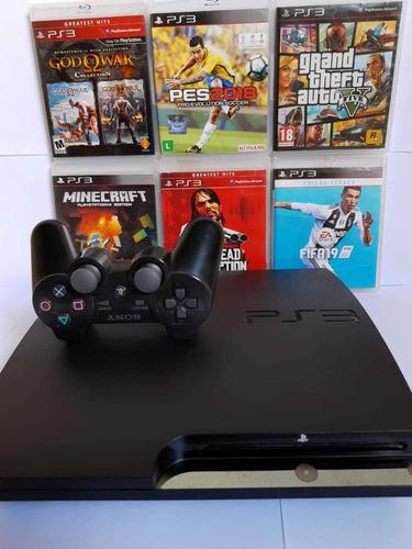 Ps3 Playstation 3 Slim  ,controle Gta V, Pes, Fifa 19