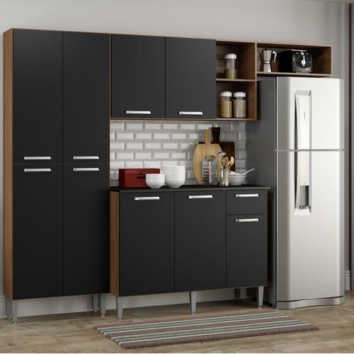 Cozinha Compacta Pequim 9 Portas Mp2933 Multimóveis Carvalho