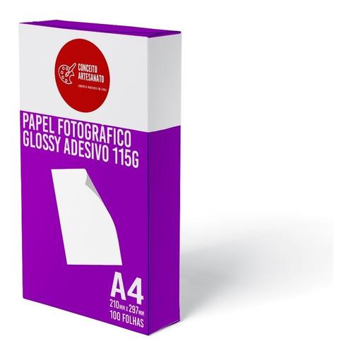 Papel Fotográfico A4 Glossy Adesivo 115g 100 Folhas Premium