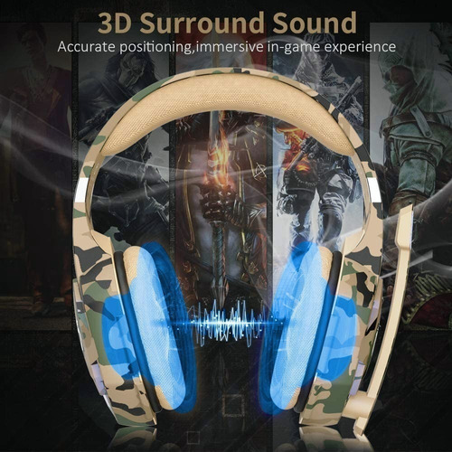 Gamer Onikuma G2600 Camouflage Yellow Microphone Headphones - Ecart