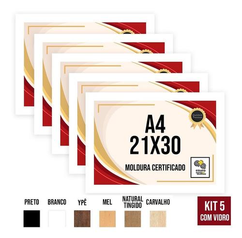 Kit 5 Molduras A4 21x30 Porta Certificado Diploma Foto Vidro