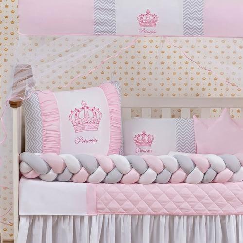 Kit Berço Trança Coroa Menina Princesa Rosa 11 Peças + Lençol