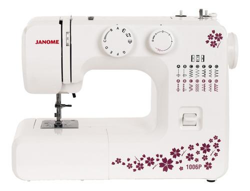 Máquina De Costura Janome 1006p Portátil Branca E Rosa 127v