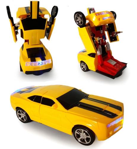 Carrinho Camaro Transforma Robô Luz Som Bate Volta