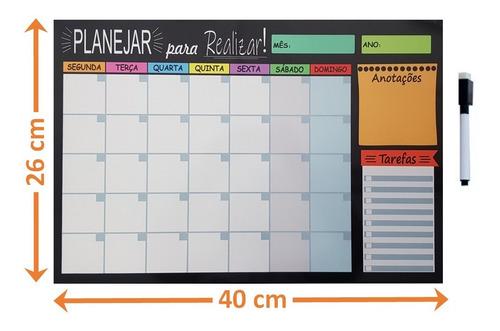 Quadro Lousa Planejador Temático Agenda 26x40 Cm Metal